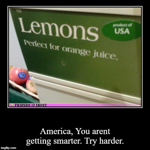 America, You arent getting smarter. Try harder. | image tagged in funny,demotivationals | made w/ Imgflip demotivational maker