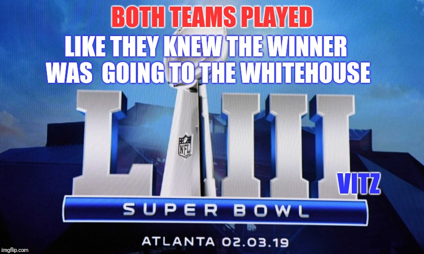 BOTH TEAMS PLAYED LIKE THEY KNEW THE WINNER WAS  GOING TO THE WHITEHOUSE VITZ | image tagged in superbowl liii nobody cares | made w/ Imgflip meme maker