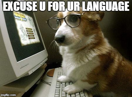 Smart Dog | EXCUSE U FOR UR LANGUAGE | image tagged in smart dog | made w/ Imgflip meme maker