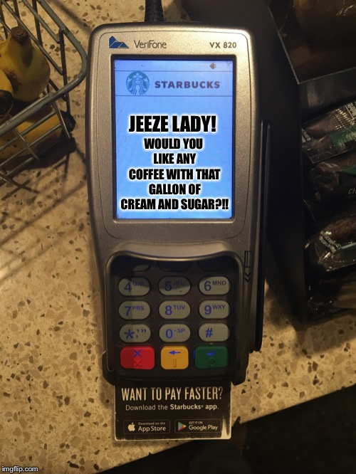 JEEZE LADY! WOULD YOU LIKE ANY COFFEE WITH THAT GALLON OF CREAM AND SUGAR?!! | image tagged in shaming starbucks card reader | made w/ Imgflip meme maker