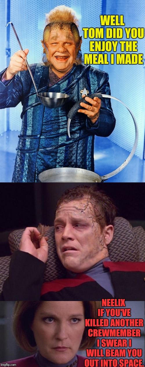 WELL TOM DID YOU ENJOY THE MEAL I MADE; NEELIX IF YOU'VE KILLED ANOTHER CREWMEMBER I SWEAR I WILL BEAM YOU OUT INTO SPACE. | image tagged in star trek voyager,janeway,star trek | made w/ Imgflip meme maker