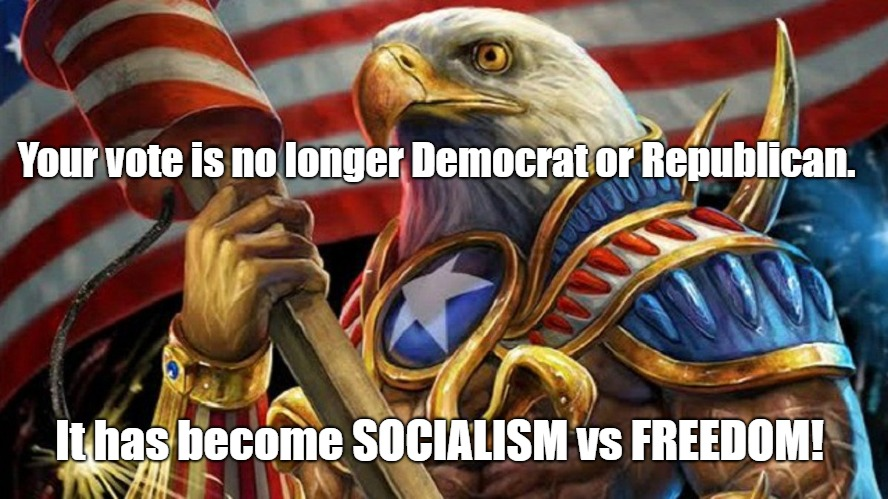 Give me FREEDOM! | Your vote is no longer Democrat or Republican. It has become SOCIALISM vs FREEDOM! | image tagged in political meme,socialism,freedom | made w/ Imgflip meme maker