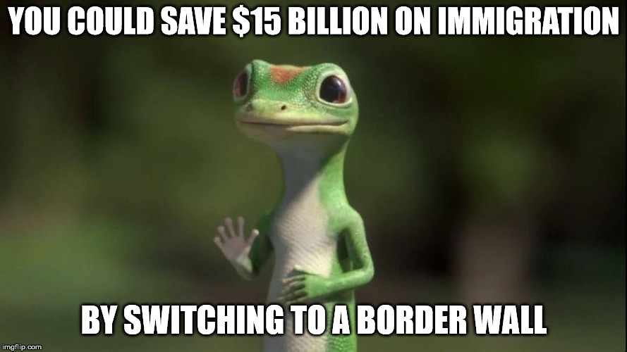 Geico Gecko selling something besides insurance | YOU COULD SAVE $15 BILLION ON IMMIGRATION BY SWITCHING TO A BORDER WALL | image tagged in memes,immigration,border wall | made w/ Imgflip meme maker