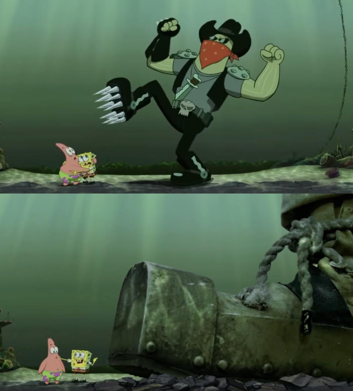 Spongebob bigger boot meme template