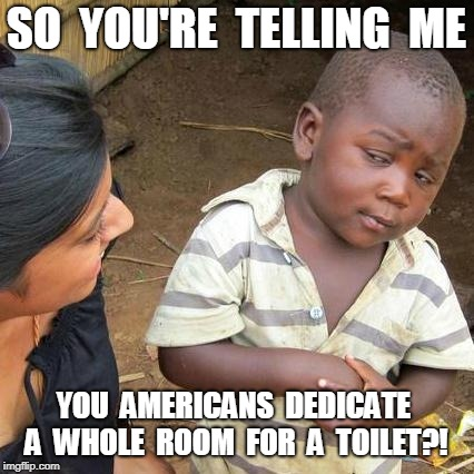 Third World Skeptical Kid Meme | SO  YOU'RE  TELLING  ME YOU  AMERICANS  DEDICATE  A  WHOLE  ROOM  FOR  A  TOILET?! | image tagged in memes,third world skeptical kid | made w/ Imgflip meme maker