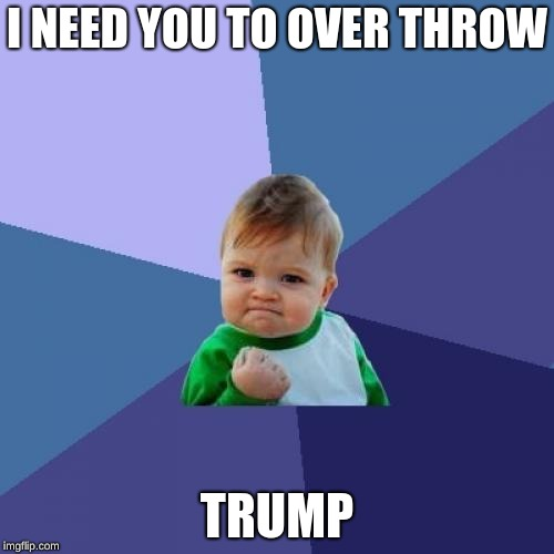 Success Kid Meme | I NEED YOU TO OVER THROW TRUMP | image tagged in memes,success kid | made w/ Imgflip meme maker
