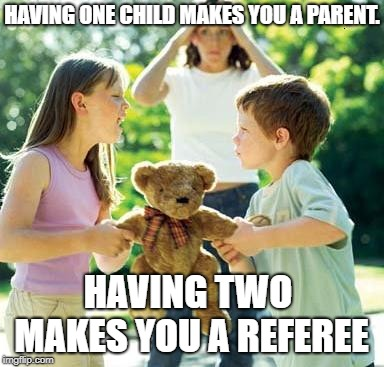 Three or more makes you a circus manager. |  HAVING ONE CHILD MAKES YOU A PARENT. HAVING TWO MAKES YOU A REFEREE | image tagged in kids fighting,being a parent,referee | made w/ Imgflip meme maker