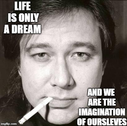 Bill Hicks | LIFE IS ONLY A DREAM AND WE ARE THE IMAGINATION OF OURSLEVES | image tagged in bill hicks | made w/ Imgflip meme maker