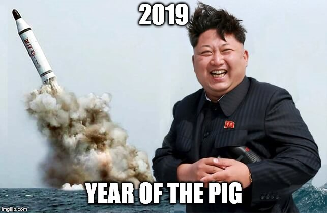 No wonder rocket man is so happy.  | 2019 YEAR OF THE PIG | image tagged in happy kim jong un,chinese new year,2019,pig,funny memes | made w/ Imgflip meme maker