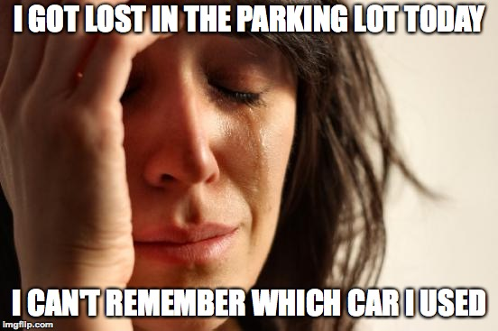 First World Problems Meme | I GOT LOST IN THE PARKING LOT TODAY I CAN'T REMEMBER WHICH CAR I USED | image tagged in memes,first world problems,funny,rich,memelord344,parking lot | made w/ Imgflip meme maker