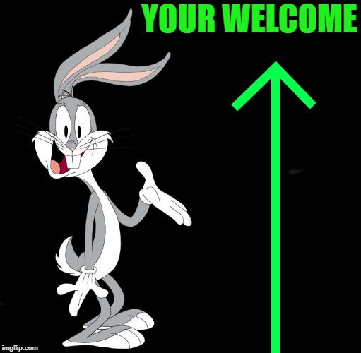 upvote rabbit | YOUR WELCOME | image tagged in upvote rabbit | made w/ Imgflip meme maker