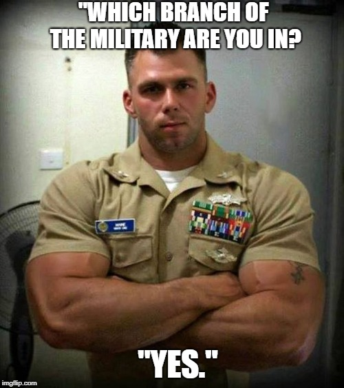 "Marcus Magnus Von Magnusson III | ""WHICH BRANCH OF THE MILITARY ARE YOU IN? ""YES."" 
