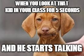 To make things worse, I can't understand what he says AT ALL | WHEN YOU LOOK AT THAT KID IN YOUR CLASS FOR 5 SECONDS AND HE STARTS TALKING | image tagged in disappointed dog,that one kid,5 seconds to kill you | made w/ Imgflip meme maker