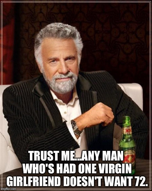 The Most Interesting Man In The World Meme | TRUST ME...ANY MAN WHO'S HAD ONE VIRGIN GIRLFRIEND DOESN'T WANT 72. | image tagged in memes,the most interesting man in the world | made w/ Imgflip meme maker