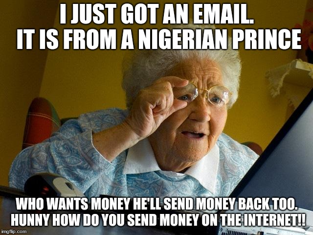 Grandma Finds The Internet Meme | I JUST GOT AN EMAIL. IT IS FROM A NIGERIAN PRINCE WHO WANTS MONEY HE'LL SEND MONEY BACK TOO. HUNNY HOW DO YOU SEND MONEY ON THE INTERNET!! | image tagged in memes,grandma finds the internet | made w/ Imgflip meme maker