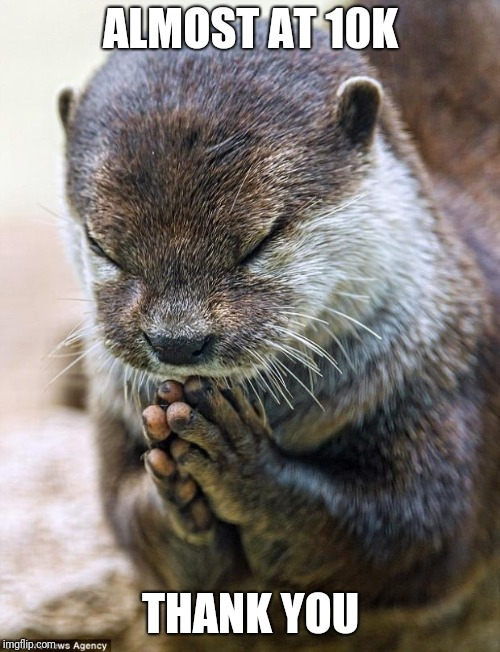 Thank you Lord Otter | ALMOST AT 10K THANK YOU | image tagged in thank you lord otter | made w/ Imgflip meme maker