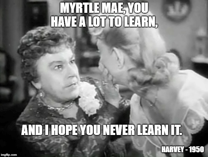 You have a lot to learn | MYRTLE MAE, YOU HAVE A LOT TO LEARN, AND I HOPE YOU NEVER LEARN IT. HARVEY - 1950 | image tagged in life lessons,harvey the movie | made w/ Imgflip meme maker