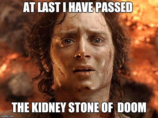 Its Done | AT LAST I HAVE PASSED THE KIDNEY STONE OF  DOOM | image tagged in its done | made w/ Imgflip meme maker