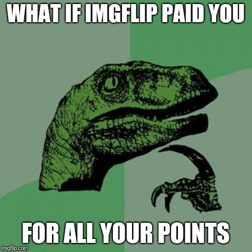 This is my job | WHAT IF IMGFLIP PAID YOU FOR ALL YOUR POINTS | image tagged in memes,philosoraptor,pay,imgflip points,what if | made w/ Imgflip meme maker
