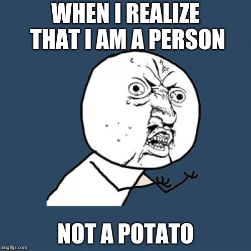Y U No Meme | WHEN I REALIZE THAT I AM A PERSON NOT A POTATO | image tagged in memes,y u no | made w/ Imgflip meme maker
