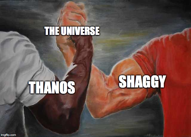 Agreement | THANOS SHAGGY THE UNIVERSE | image tagged in agreement,shaggy,thanos,universe | made w/ Imgflip meme maker