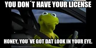 YOU DON´T HAVE YOUR LICENSE HONEY, YOU´VE GOT DAT LOOK IN YOUR EYE. | image tagged in funny | made w/ Imgflip meme maker