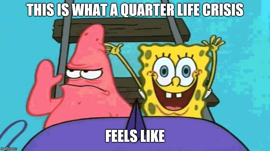 What a quarter life crisis feels like | THIS IS WHAT A QUARTER LIFE CRISIS FEELS LIKE | image tagged in spongebob rollercoaster,memes,mental health | made w/ Imgflip meme maker
