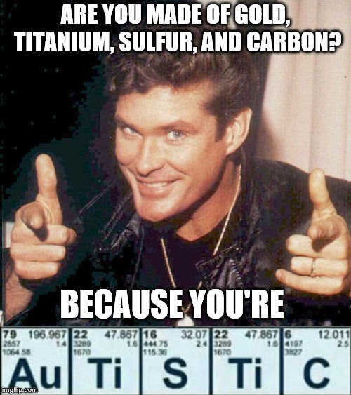 Scientifically Proven! | ARE YOU MADE OF GOLD, TITANIUM, SULFUR, AND CARBON? BECAUSE YOU'RE | image tagged in hasselhoff finger guns,autistic,science,bad pun,bad joke,atomic symbol joke | made w/ Imgflip meme maker