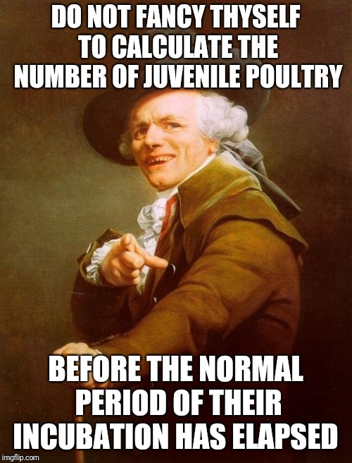 Words of wisdom ;-) | DO NOT FANCY THYSELF TO CALCULATE THE NUMBER OF JUVENILE POULTRY BEFORE THE NORMAL PERIOD OF THEIR INCUBATION HAS ELAPSED | image tagged in memes,joseph ducreux,hot chicks,congratulations gold dick award,no fun,dank meme | made w/ Imgflip meme maker