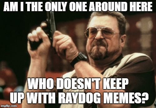 Am I The Only One Around Here | AM I THE ONLY ONE AROUND HERE WHO DOESN'T KEEP UP WITH RAYDOG MEMES? | image tagged in memes,am i the only one around here,raydog | made w/ Imgflip meme maker