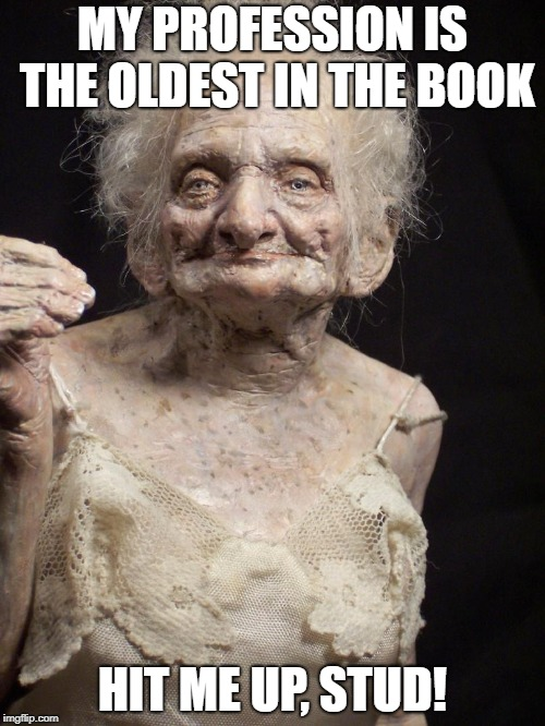 Sexy old woman |  MY PROFESSION IS THE OLDEST IN THE BOOK; HIT ME UP, STUD! | image tagged in sexy old woman | made w/ Imgflip meme maker