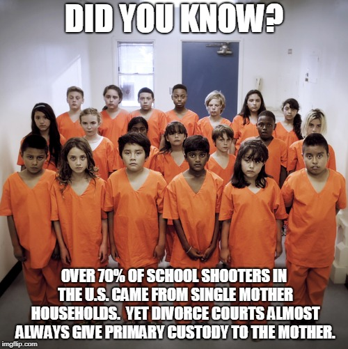 Think of the children! |  DID YOU KNOW? OVER 70% OF SCHOOL SHOOTERS IN THE U.S. CAME FROM SINGLE MOTHER HOUSEHOLDS.  YET DIVORCE COURTS ALMOST ALWAYS GIVE PRIMARY CUSTODY TO THE MOTHER. | image tagged in kids in prison,memes,school shooting,divorce,anti-feminism,did you know | made w/ Imgflip meme maker