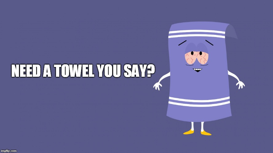 Towelie South Park | NEED A TOWEL YOU SAY? | image tagged in towelie south park | made w/ Imgflip meme maker