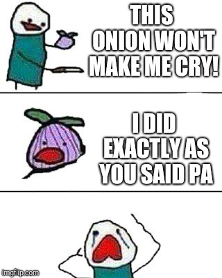 this onion won't make me cry | THIS ONION WON'T MAKE ME CRY! I DID EXACTLY AS YOU SAID PA | image tagged in this onion won't make me cry | made w/ Imgflip meme maker