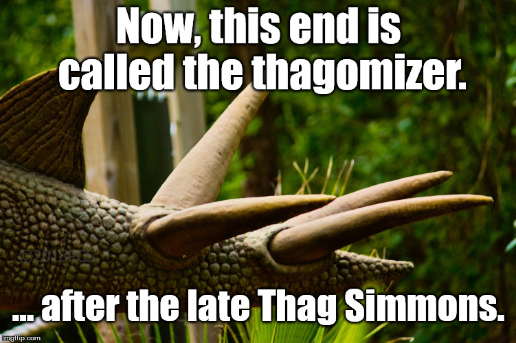 Thagomizer - Hommage  to Gary Larson |  Now, this end is called the thagomizer. ... after the late Thag Simmons. | image tagged in thagomizer,gary larson | made w/ Imgflip meme maker