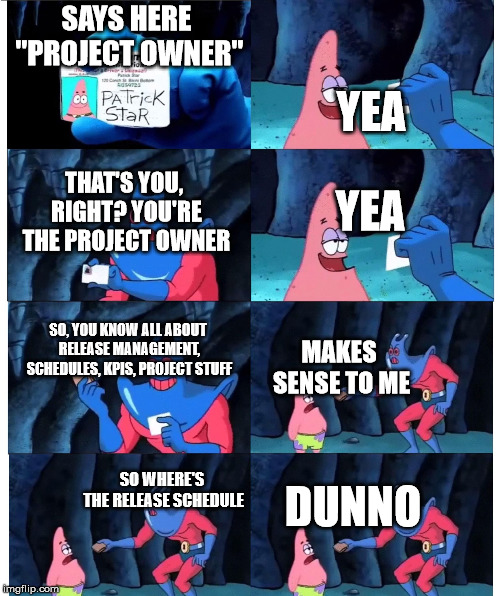 "patrick wallet | SAYS HERE ""PROJECT OWNER"" YEA THAT'S YOU, RIGHT? YOU'RE THE PROJECT OWNER YEA SO, YOU KNOW ALL ABOUT RELEASE MANAGEMENT, SCHEDULES, KPIS, PR 