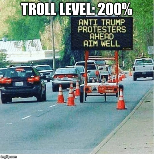 TROLL LEVEL: 200% | image tagged in construction sign | made w/ Imgflip meme maker