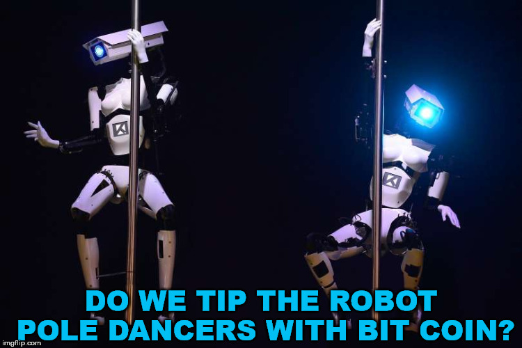 Do they dance to Mr. Roboto? | DO WE TIP THE ROBOT POLE DANCERS WITH BIT COIN? | image tagged in meme,robot,stripper pole,funny,dancer,bitcoin | made w/ Imgflip meme maker