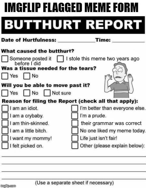butt hurt report | IMGFLIP FLAGGED MEME FORM | image tagged in imgflip,flag | made w/ Imgflip meme maker