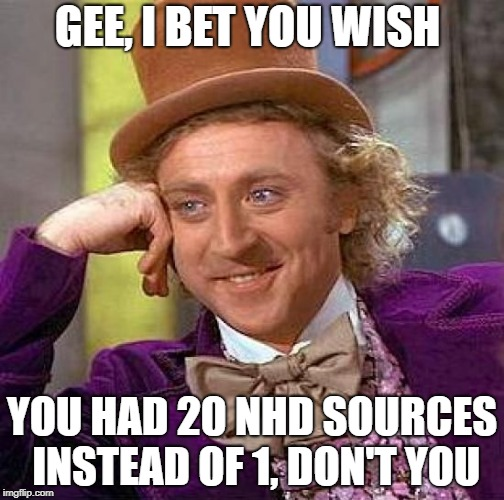 Creepy Condescending Wonka Meme | GEE, I BET YOU WISH YOU HAD 20 NHD SOURCES INSTEAD OF 1, DON'T YOU | image tagged in memes,creepy condescending wonka | made w/ Imgflip meme maker
