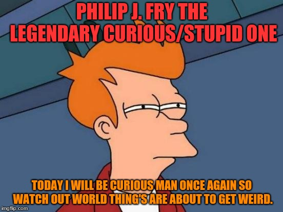 Futurama Fry Meme | PHILIP J. FRY THE LEGENDARY CURIOUS/STUPID ONE TODAY I WILL BE CURIOUS MAN ONCE AGAIN SO WATCH OUT WORLD THING'S ARE ABOUT TO GET WEIRD. | image tagged in memes,futurama fry | made w/ Imgflip meme maker