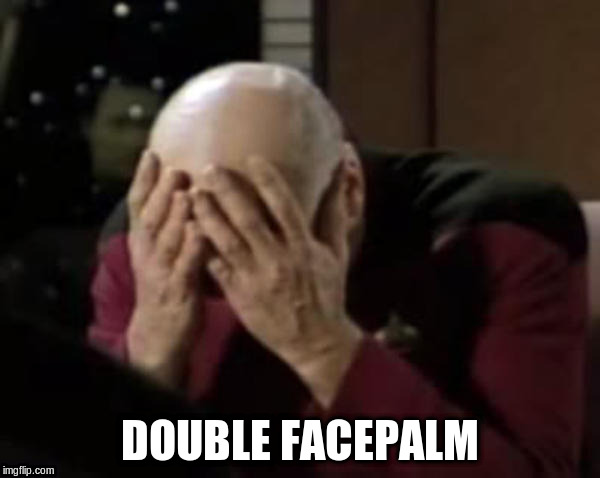 Captain Picard Double Facepalm | DOUBLE FACEPALM | image tagged in captain picard double facepalm | made w/ Imgflip meme maker