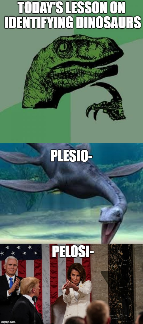 One is ancient reptile, and the other is a dinosaur | TODAY'S LESSON ON IDENTIFYING DINOSAURS PELOSI- PLESIO- | image tagged in memes,philosoraptor,nancy pelosi,plesiosaur,extinction,reptile | made w/ Imgflip meme maker