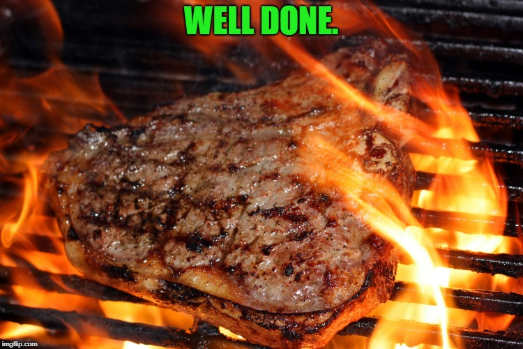 steak | WELL DONE. | image tagged in steak | made w/ Imgflip meme maker