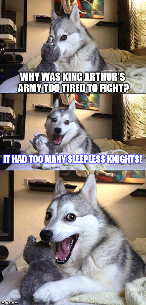 Bad Pun Dog Meme | WHY WAS KING ARTHUR'S ARMY TOO TIRED TO FIGHT? IT HAD TOO MANY SLEEPLESS KNIGHTS! | image tagged in memes,bad pun dog | made w/ Imgflip meme maker