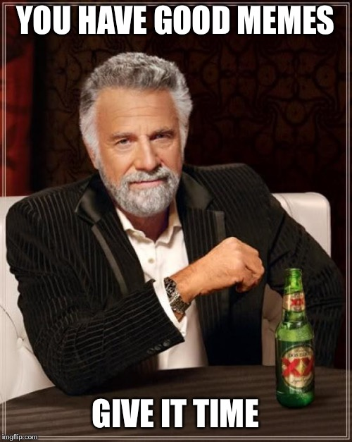 The Most Interesting Man In The World Meme | YOU HAVE GOOD MEMES GIVE IT TIME | image tagged in memes,the most interesting man in the world | made w/ Imgflip meme maker