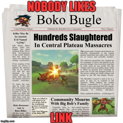 NOBODY LIKES; LINK | image tagged in zelda | made w/ Imgflip meme maker