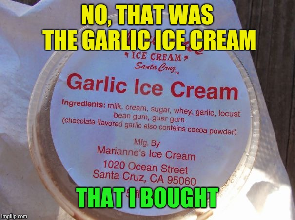 NO, THAT WAS THE GARLIC ICE CREAM THAT I BOUGHT | made w/ Imgflip meme maker