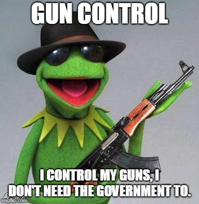 kermit ak | GUN CONTROL I CONTROL MY GUNS, I DON'T NEED THE GOVERNMENT TO. | image tagged in kermit ak | made w/ Imgflip meme maker