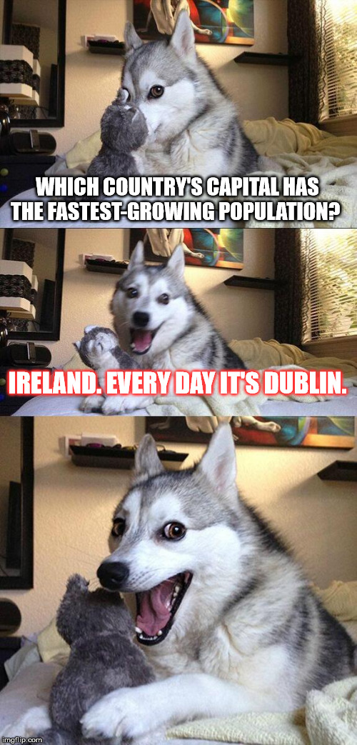 Bad Pun Dog Meme | WHICH COUNTRY'S CAPITAL HAS THE FASTEST-GROWING POPULATION? IRELAND. EVERY DAY IT'S DUBLIN. | image tagged in memes,bad pun dog | made w/ Imgflip meme maker